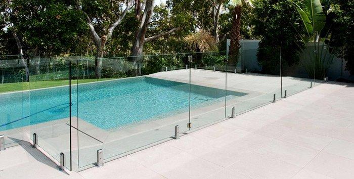 glass fence around pool
