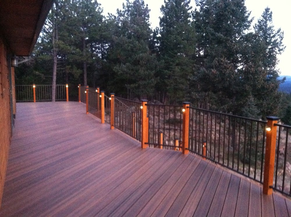 View of the light on the deck and on the staircase in Denver, CO
