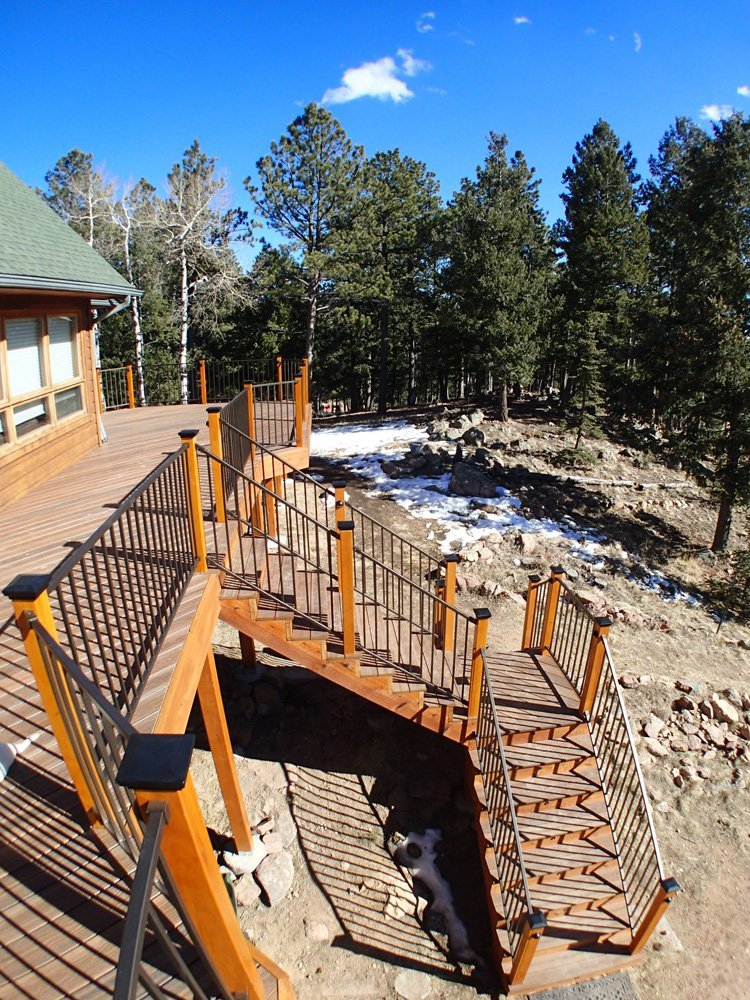 View of the deck along with the railing made in Denver, CO
