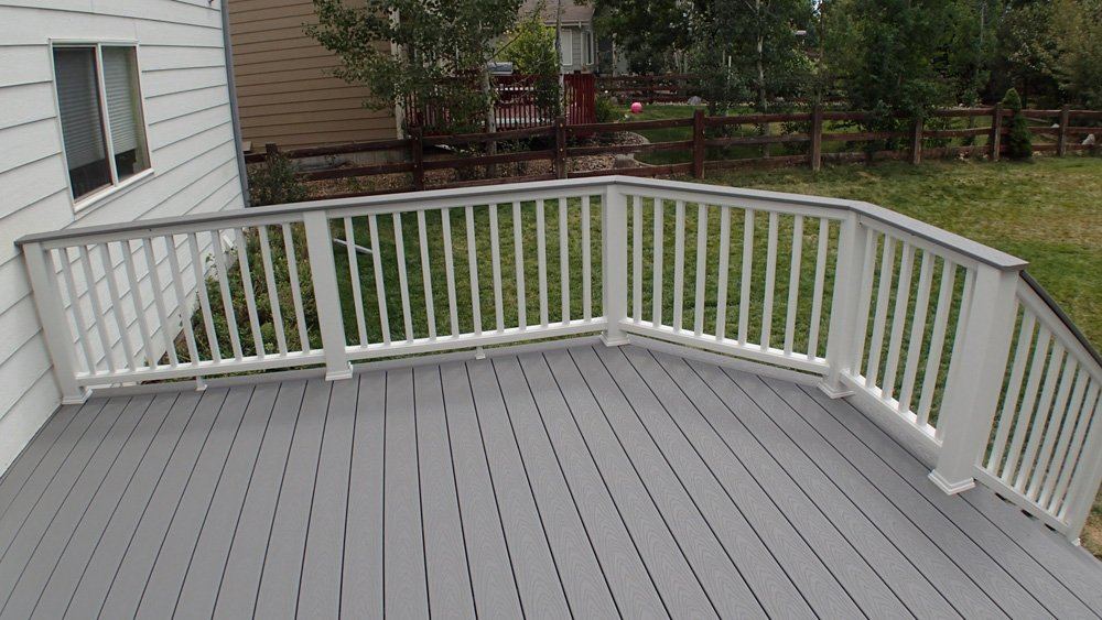 View of the composite deck railing system built on the deck in Denver, CO