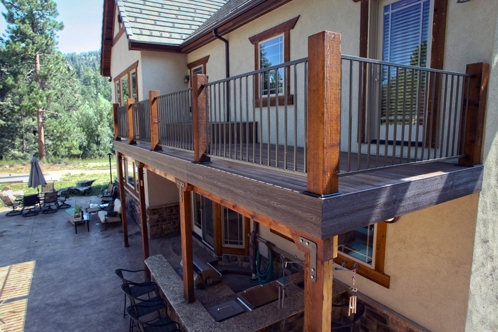 View of the treated wood used in deck support in Denver