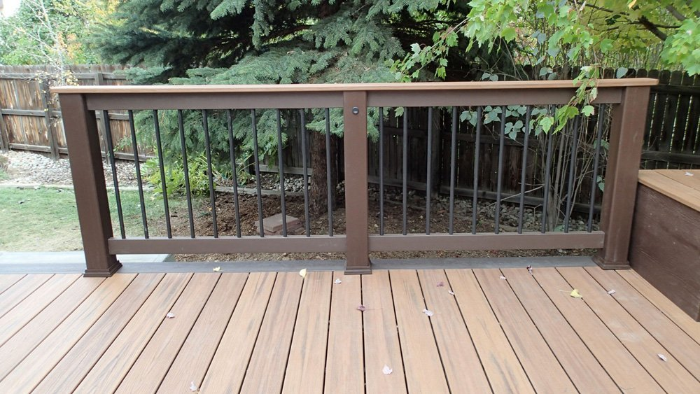 View of the steel railing installed on the deck in Denver, CO
