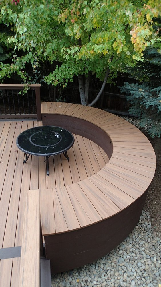 View of the  Custom radius bench around fire pit area in Denver, CO
