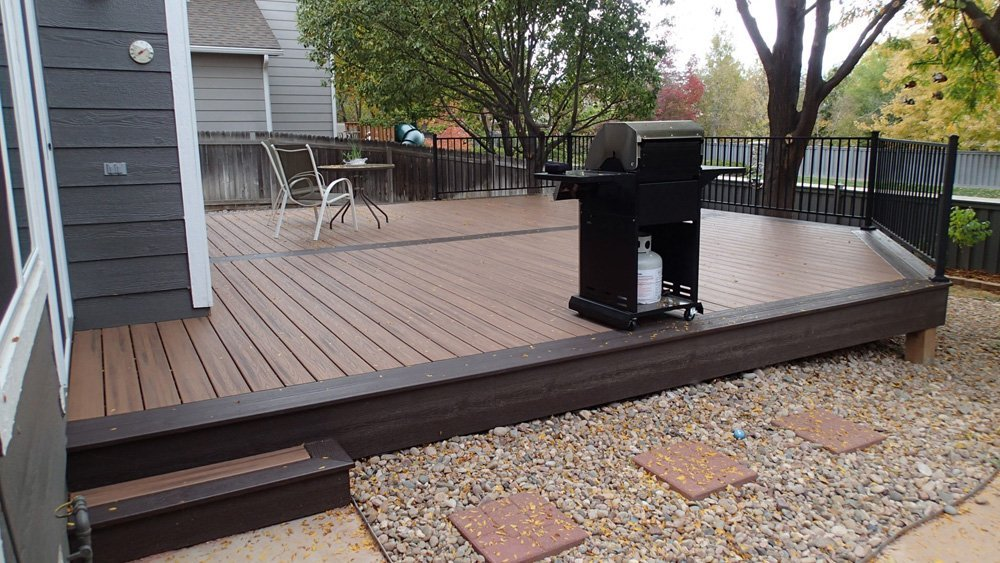 View of the railing panels with steel post installed on the deck in Denver, CO