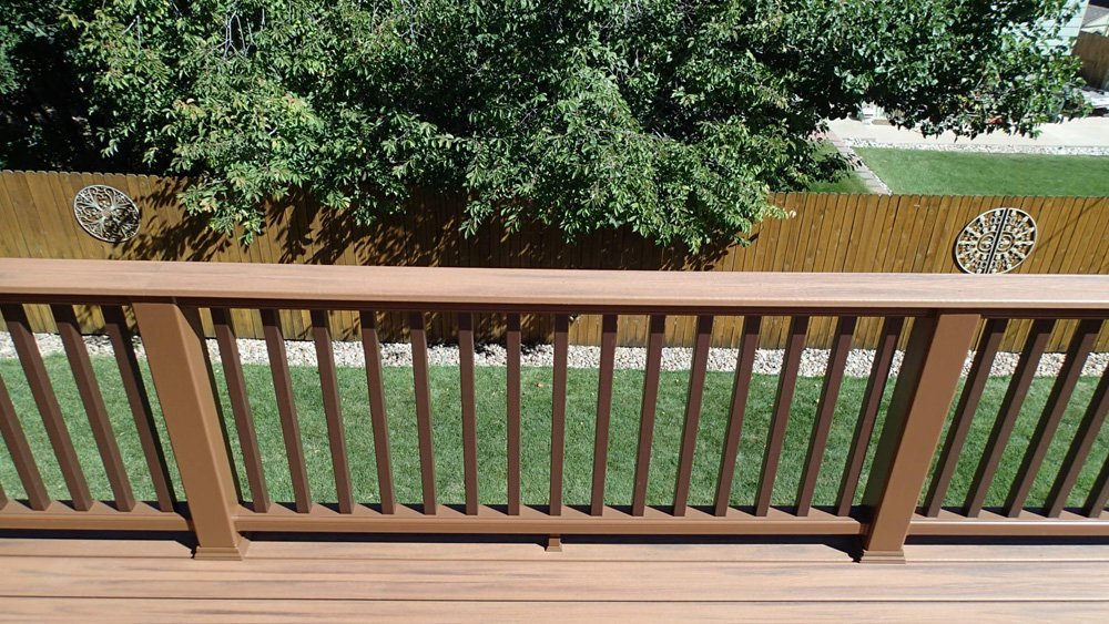 Exterior view of the composite railing system installed on the deck in Denver, CO