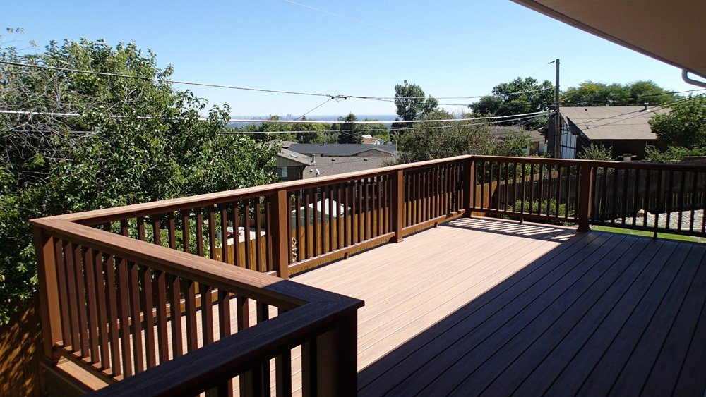 View of the composite railing system installed in Denver, CO