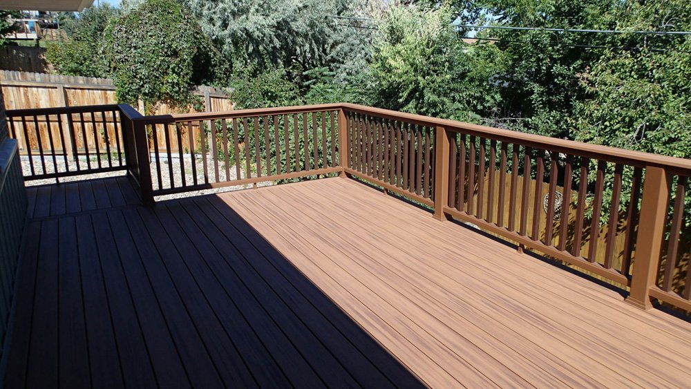 View of the composite railing system installed on the deck in Denver, CO