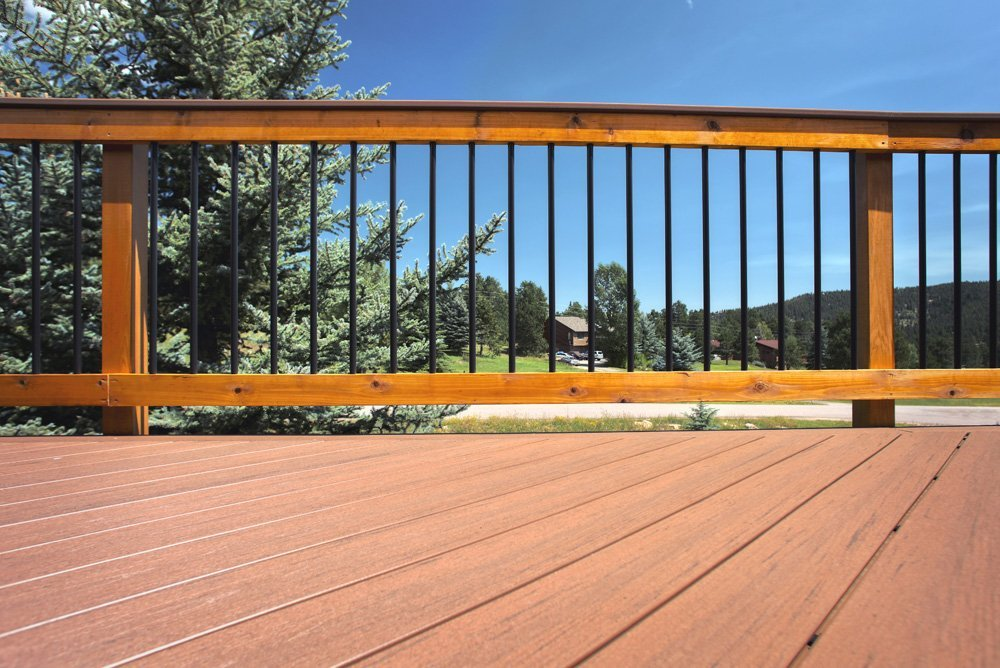 View of the powder coated aluminum balusters installed on the deck in Denver, CO
