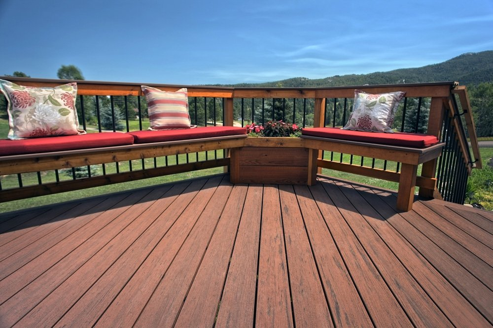 View of Custom benches and planter boxes installed on the deck in Denver, CO