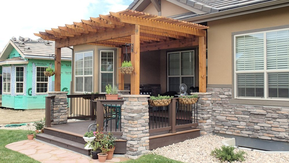 View of the pergola installed on the deck in Denver, CO
