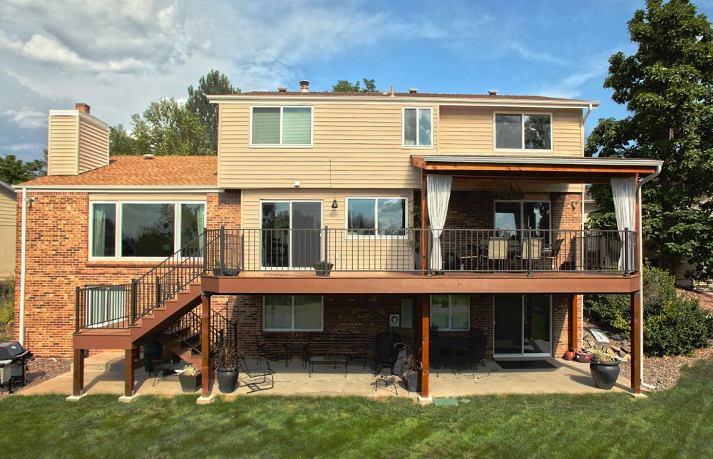 Exterior view of the deck with staircase in Denver