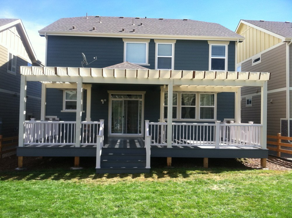Exterior view of the deck with treated wood frame in Denver, CO