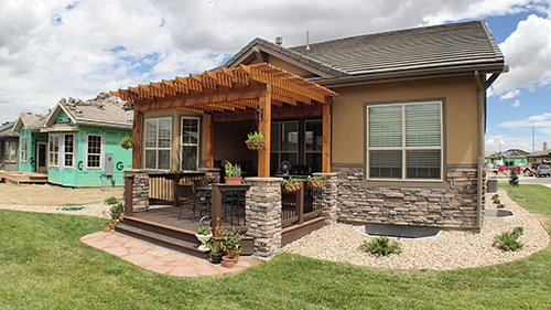 View of the front entry door deck built by experts in Denver, CO