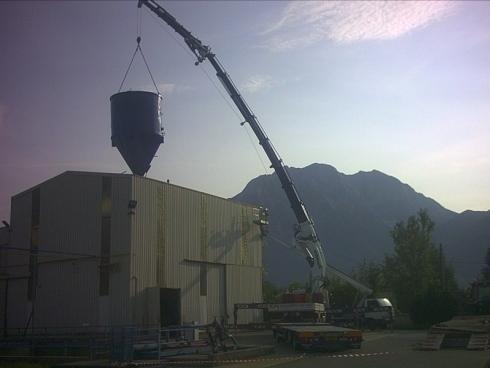 Posizonamento gru con cisterna