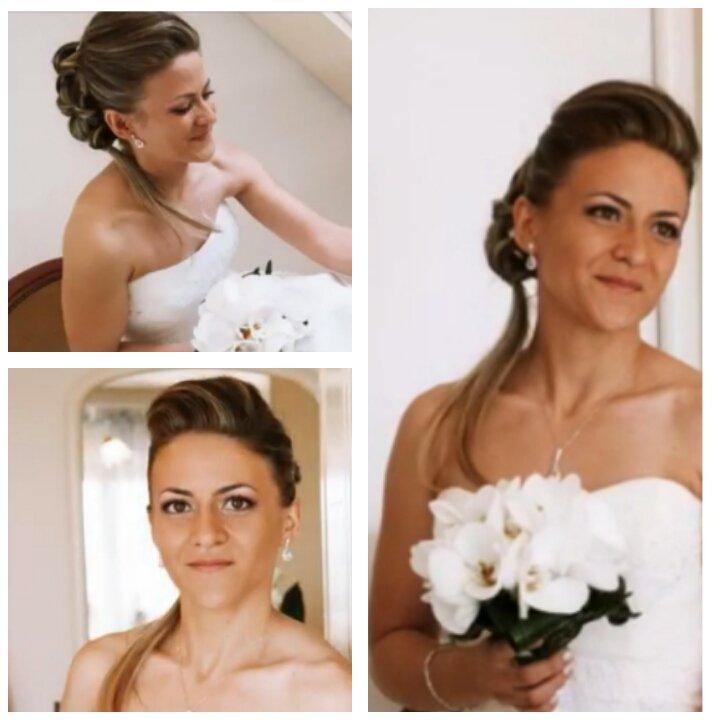 tre inquadrature di una sposa con bouquet
