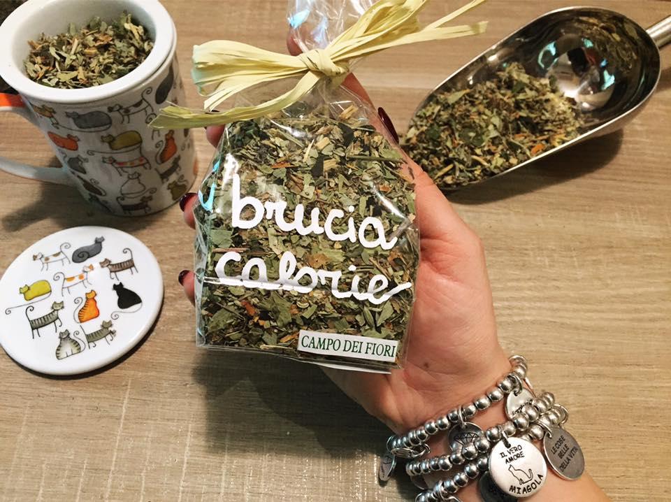 una mano con un sacchetto del tè con scritto Brucia Calorie