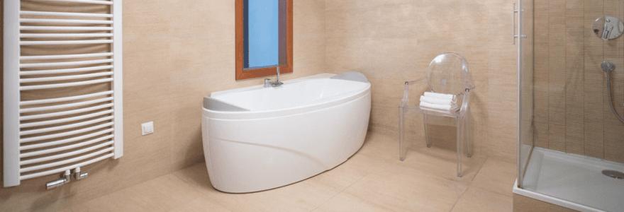 a modern bathroom with a corner bath
