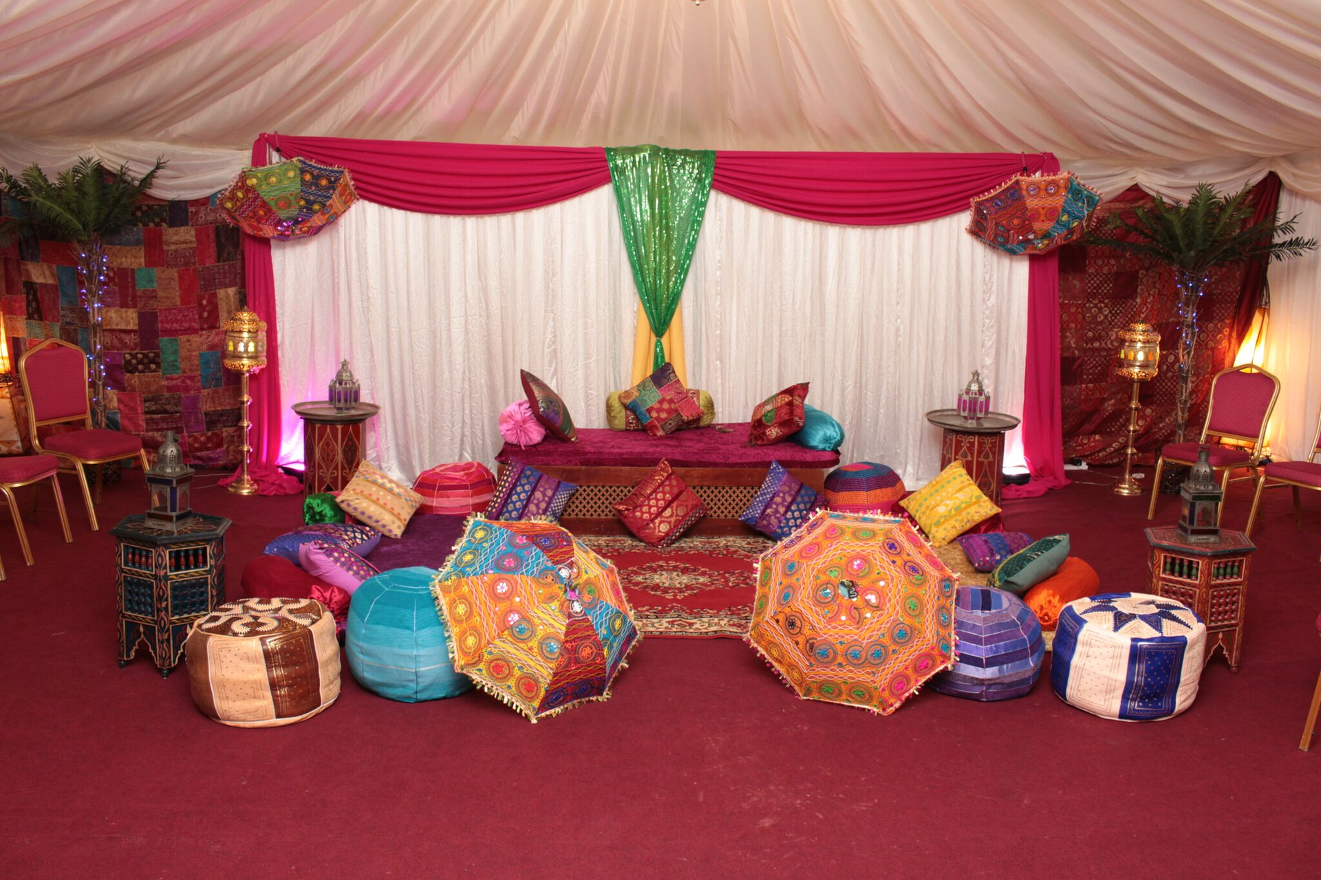 beautifully designed interior of a tent