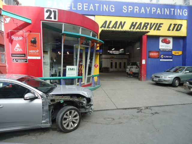 Automobile for repair at Alan Harvie Ltd in Wellington, NZ