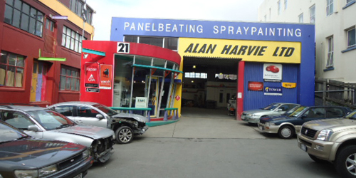 Automobiles for repair at Alan Harvie Ltd in Wellington, NZ