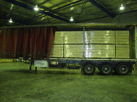 Packed timber order  at the warehouse