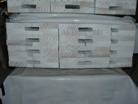 View of packed timber order