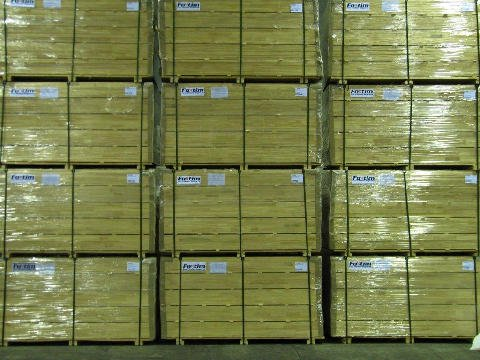 View of a packed timber order  at the warehouse