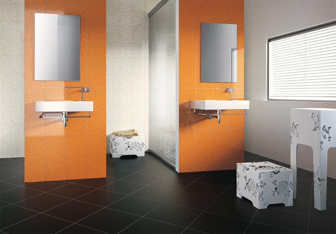 pavimento in mattonelle nere per zona bagno