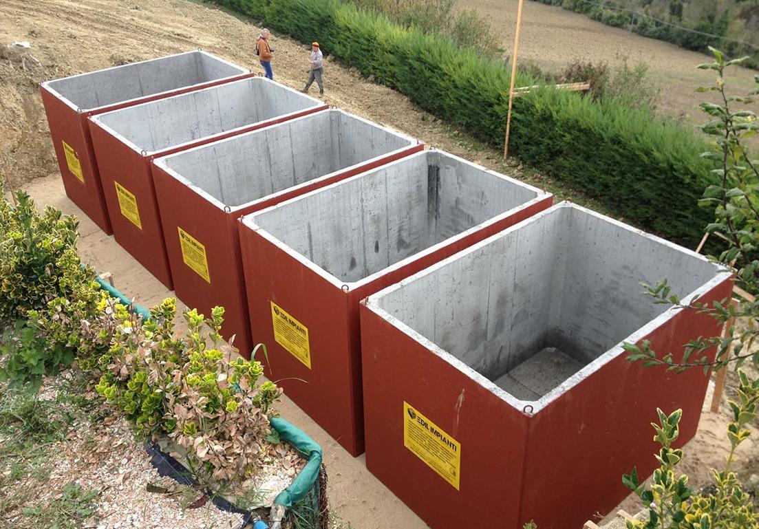 vasche in cemento armato per la raccolta di acqua