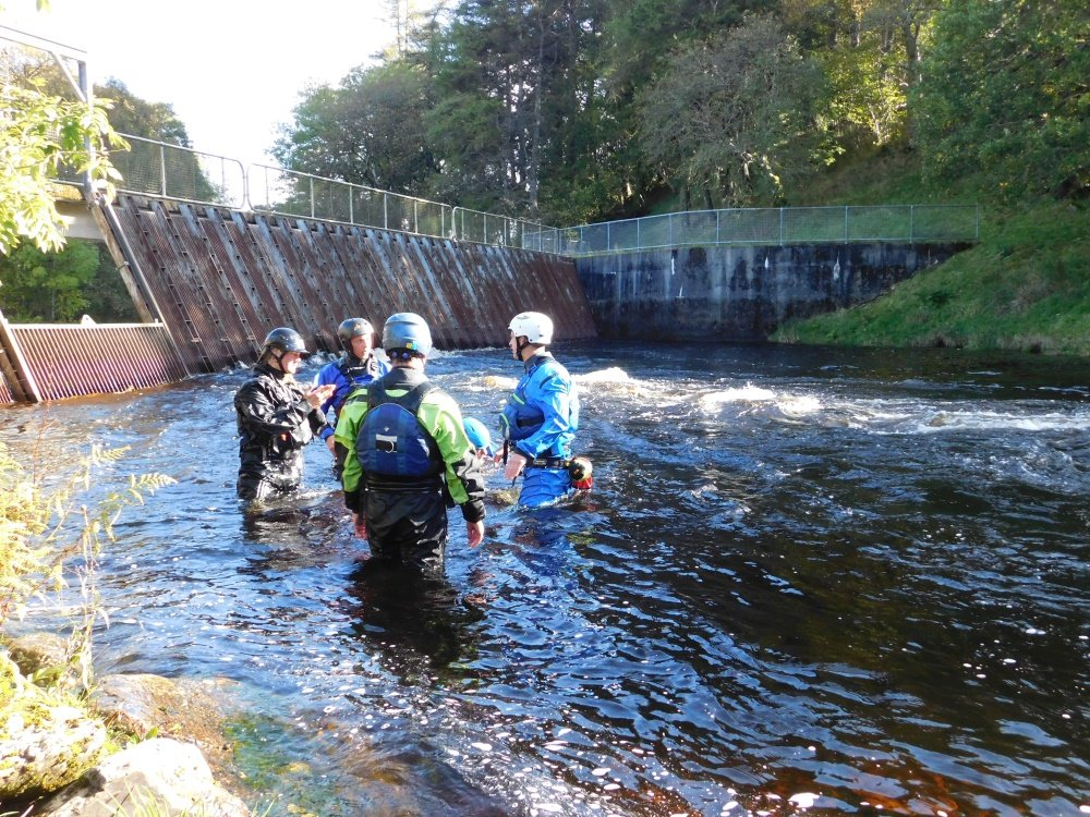 Rescue training at the whitewater centre in Snowdonia