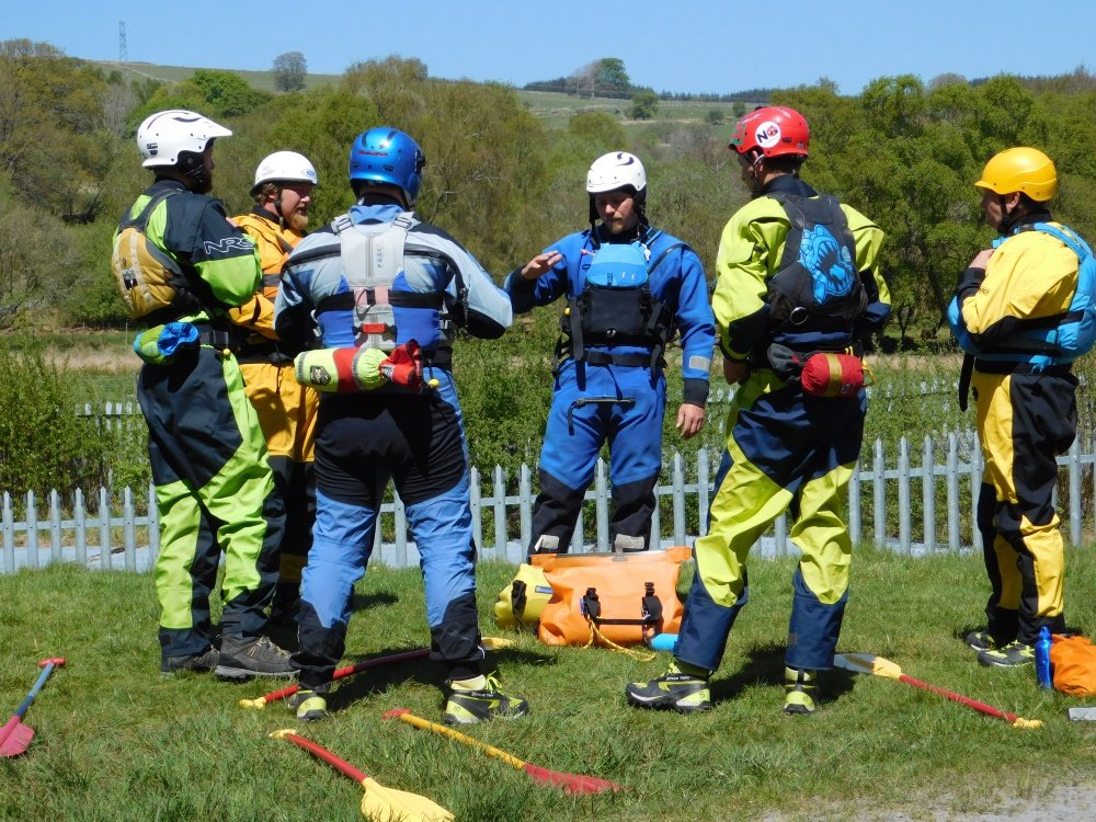 Rescue training at the National White Water Centre, Bala