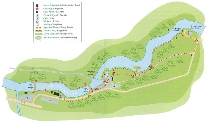 Tryweryn Trail map for dog walkers visiting the National White Water Centre, Bala