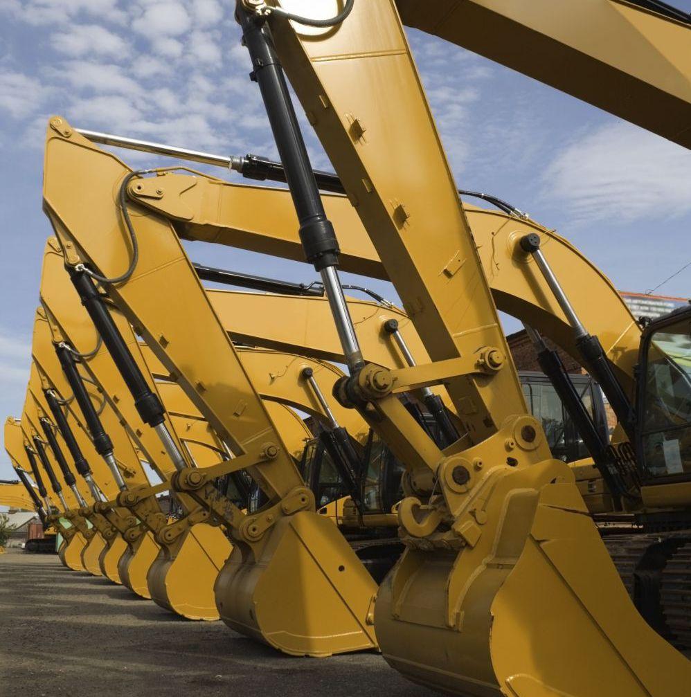row of excavators cranes in Eastsound, WA