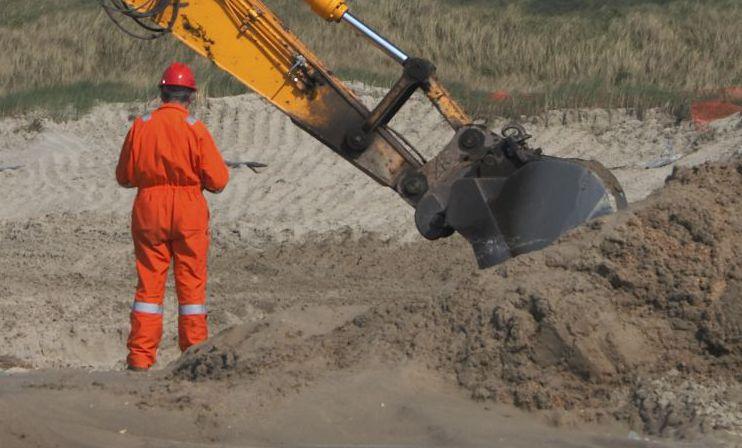 excavators at excavation site in Eastsound, WA