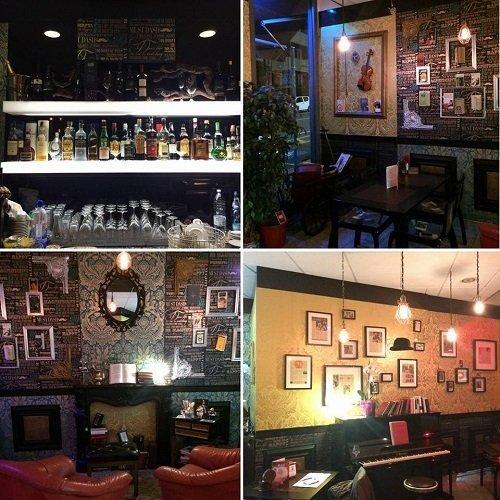 un collage di foto dell'interno di un pub