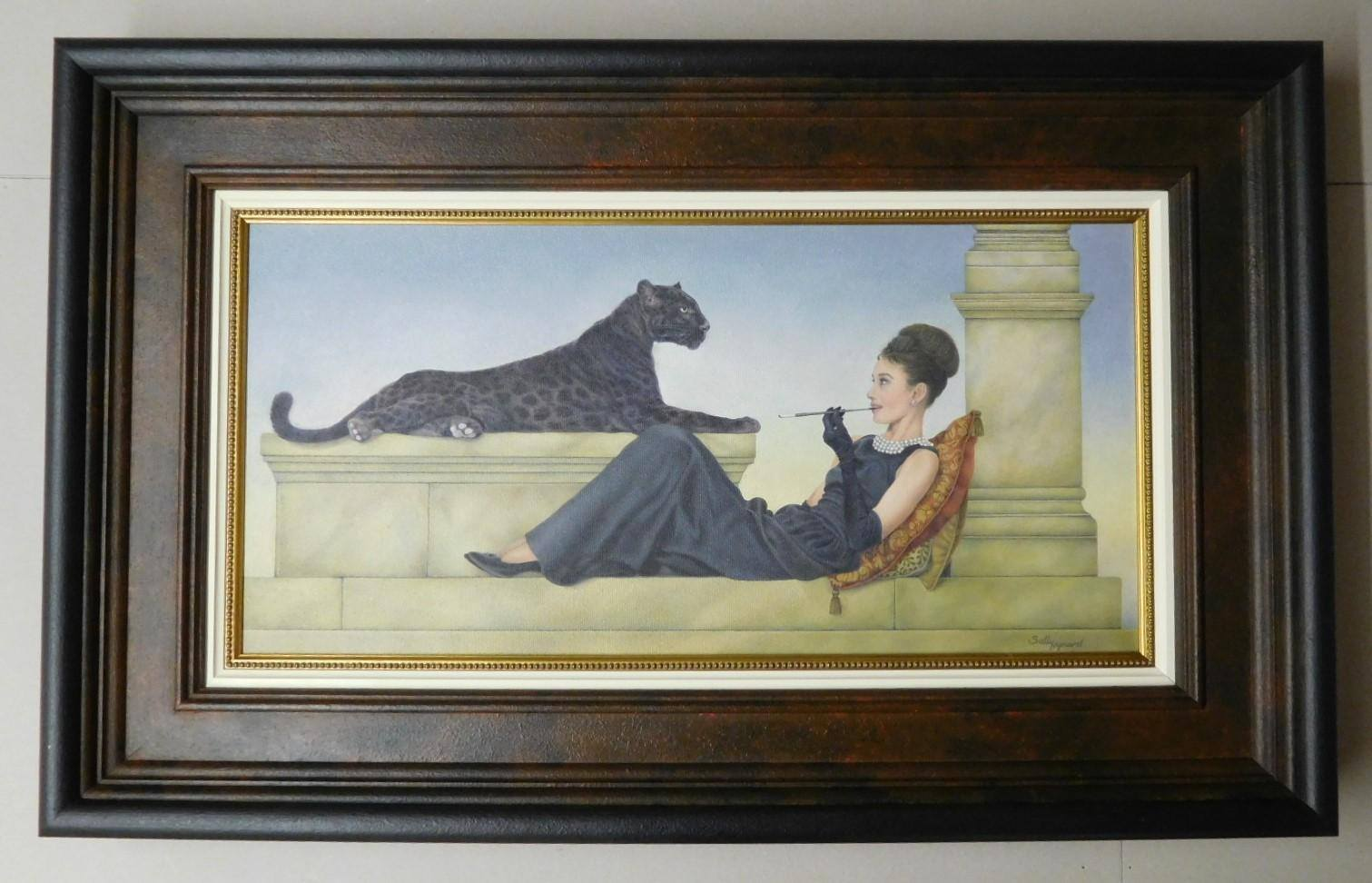 Painting of a woman and black panther