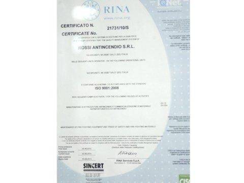 certificazione per impianti anticendio