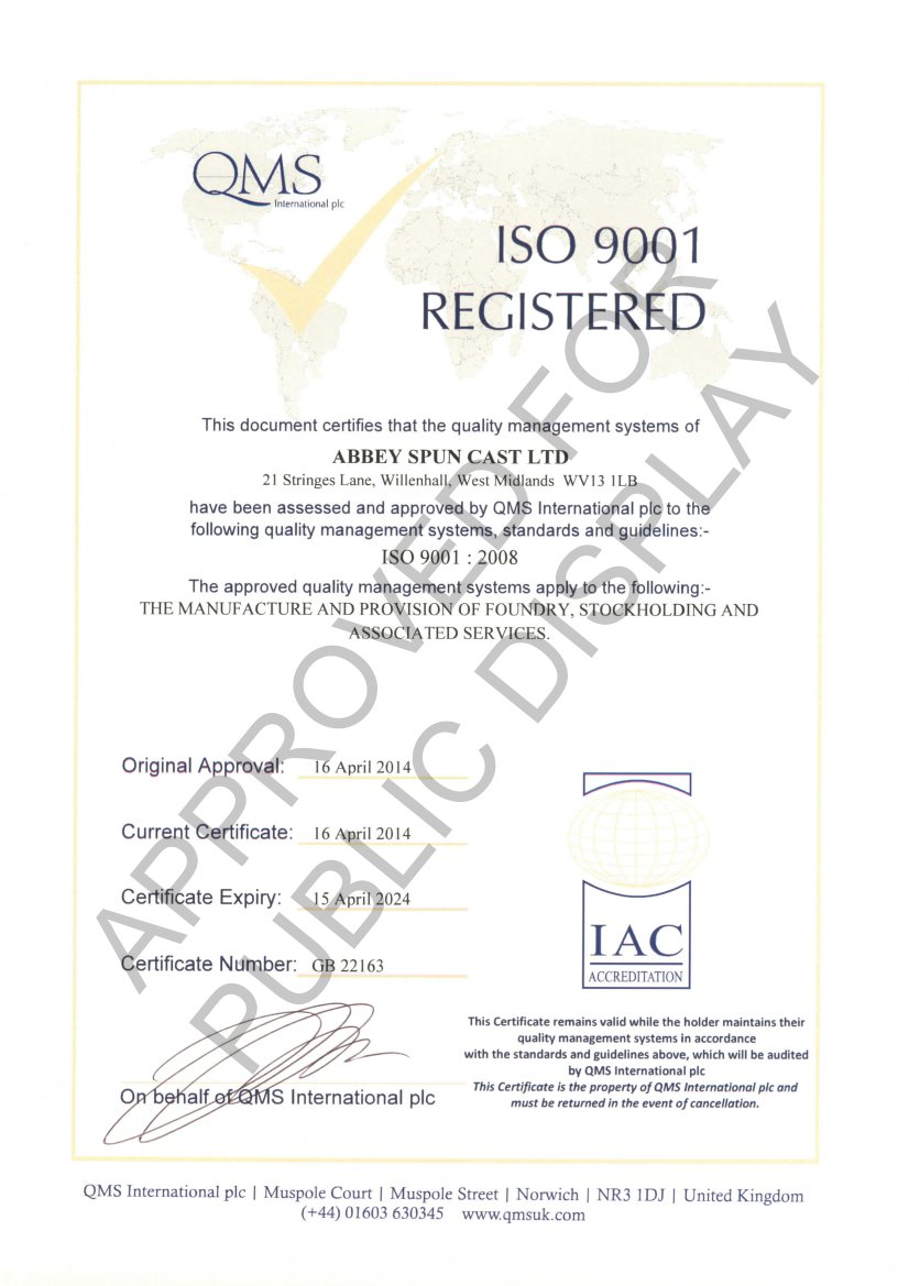 Bronze abbey spuncast in our continued commitment to quality and industry standards we are have achieved iso 9001 2008 certification we also operate to a strict occupational xflitez Choice Image