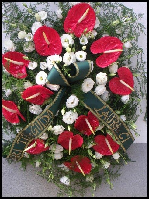 cuscino funebre anthurium e lisianto