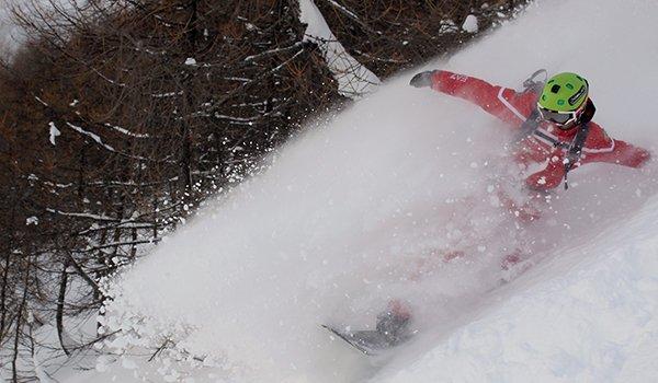 un ragazzo su uno snowboard durante una discesa vicino a degli alberi spogli e vista della neve che schizza