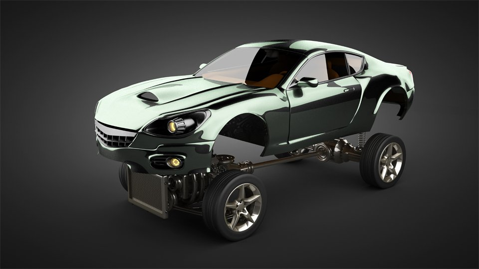 sports car body above chassis