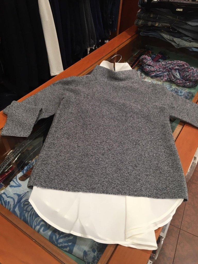 maglia lana grigia donna