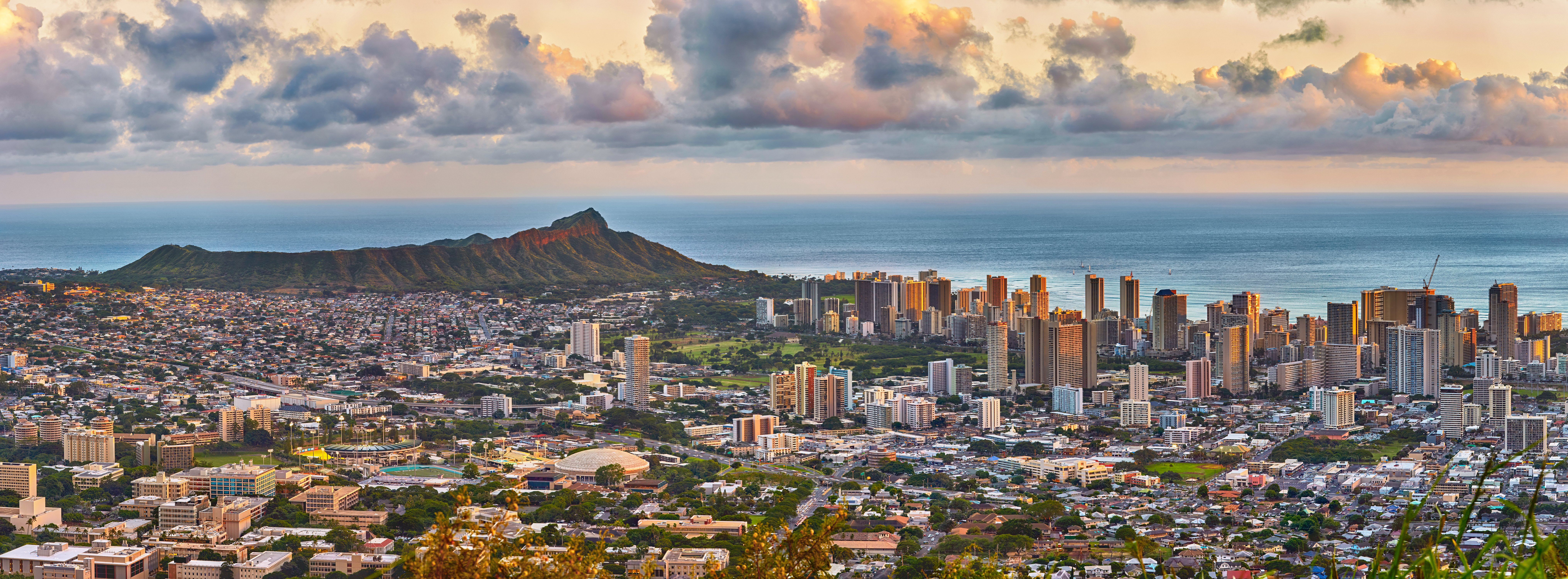 overheard view of Honolulu offices at Sunset