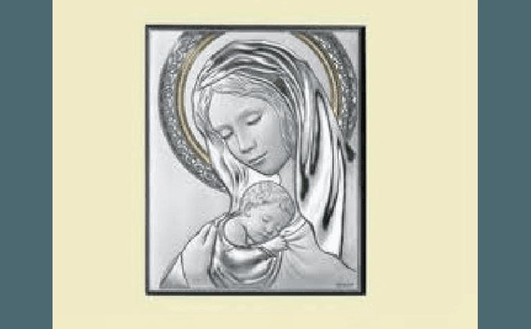 madonna con bambino in argento