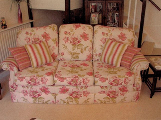 Furniture upholstery - Bedford - CA and NC Pedlar Upholstery - pink sofa near stair