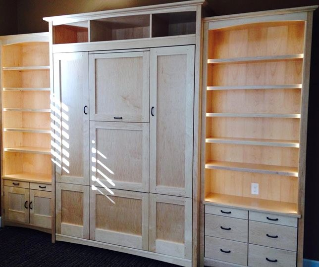 Custom white maple wall bed with added height – secret table, wide side units allows for multiple drawers