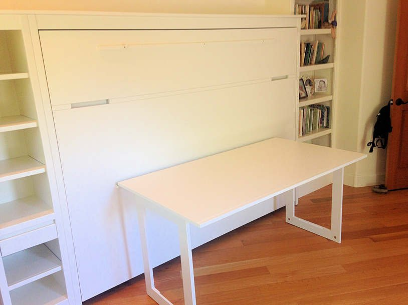 No Frills Contemporary Horizontal Wall Bed with table down