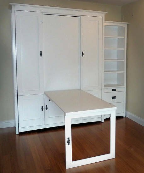 Painted Craftsman wall bed with secret table, side with drawers