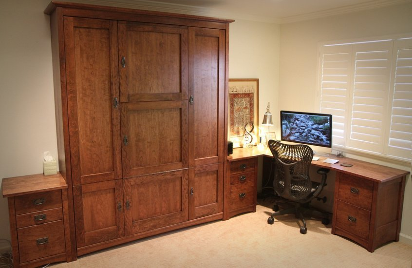 Classic Craftsman home office with queen wall bed and secret table, cherry wood with a cherry stain