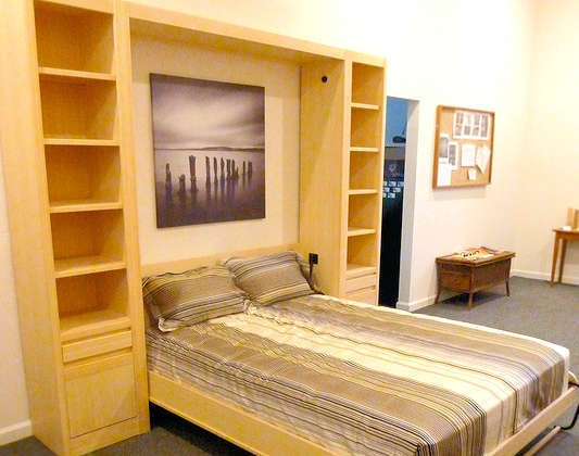 Blond bamboo contemporary wall bed with flanking side units -- also available in amber bamboo